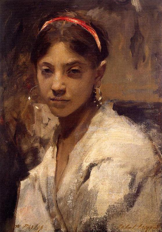 John Singer Sargent - Head of a Capri Girl